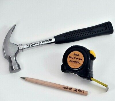 Valentine Fathers Day Present For Him Personalised Engraved Tape Dad Gift Hammer