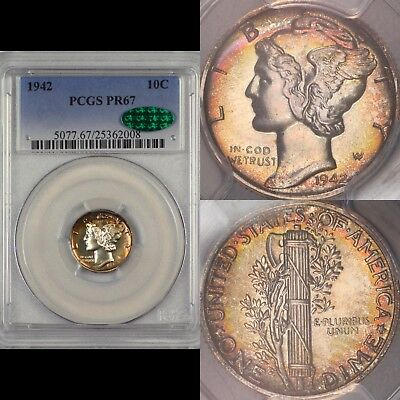 1942 10c PCGS PR67 CAC Proof Mercury Dime Toned Rainbow Original Toning