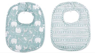 Set Of 2 Baby Boy Bibs. Mud Pie Blue Giraffe Bamboo Bib Set. Gift Set NWT!