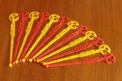 Gilbey's Gin Swizzle Stick Vintage Cocktail Stirrer Bar Tool Swanky Chic