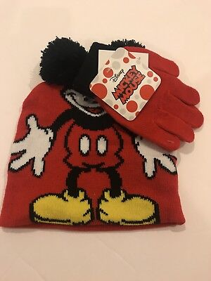 Disney Boys Girls Youth Beanie and Gloves Set Mickey Mouse RED
