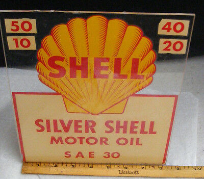 Shell OIL  Decal Sign 1950-60's SILVER SHELL MOTOR OIL APPLIED