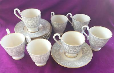7 Franciscan Masterpiece Renaissance Grey With Gold Demitasse Cups And Saucers