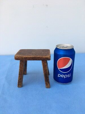 """VIntage Small Wood Wooden Bench Stool Doll Teddy Bear Toy Childs Display  4"""" Ht."""
