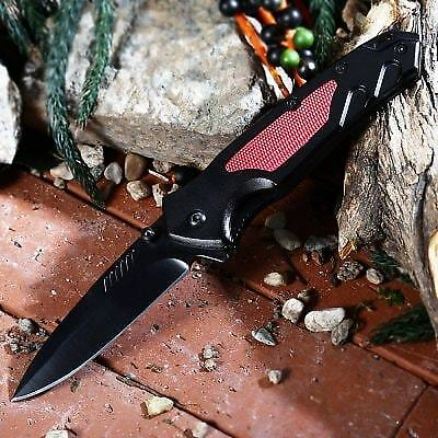 PA36 Liner Lock Folding Knife with Survival Blades-RED WITH BLACK
