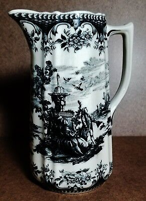 Vintage WHITE TOILE STYLE PITCHER White and Black