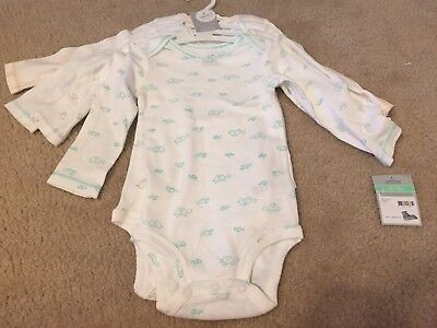 NEW Carters 4 Pack Long Sleeve White W/animals Cotton Bodysuits Unisex 18 Mo NWT