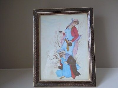Vintage Persian Iranian Gouache Painting with Decorative Frame