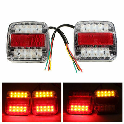 2x Truck Trailer 26LED Stop Rear Tail Reverse Light Indicator License Plate Lamp