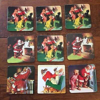 "Coca Cola Coasters Christmas Holiday 3.5"" Various Set of 9"