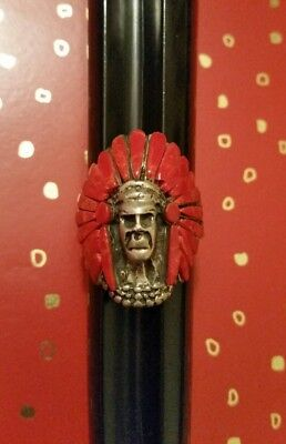Vintage Sterling Silver American Indian Chief Head Coral Ring Sz 8.5