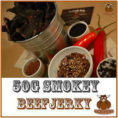 BEEF JERKY SMOKEY 50G Hi PROTEIN LOW CARBOHYDRATE PRESERVATIVE FREE SNACK