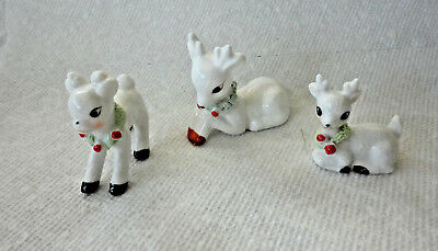 3 Vintage Napco? Ceramic Mini Deer With Spaghetti Trim