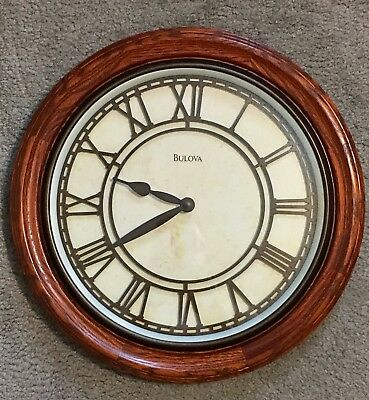 "Elegant Vintage 16"" BULOVA Roman Numeral Stained Oak Wall Quartz Clock C3462"