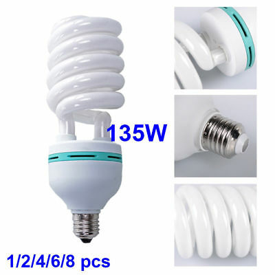 135W E27 5500K Energy Saving  Spiral Bulb Photo Studio Fluorescent Daylight Lamp