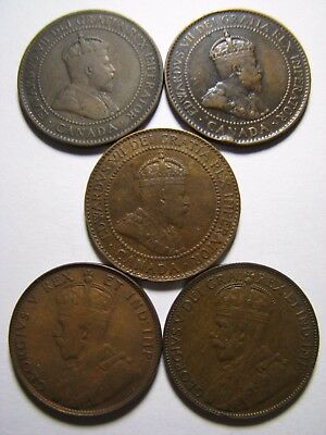 1902, 1904, 1910, 1911 & 1922 ** Canada Large Cents ** Five Coins Lot