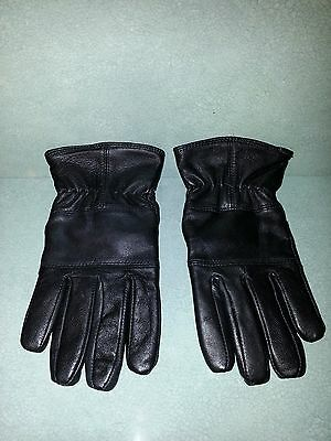 New Ladies Black Leather Thinsulate Gloves(One Size Fits All)