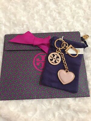 NWT Tory Burch  Gold Tone Pink Saffiano Leather Heart Logo Key Chain+gift bag