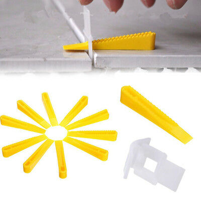 50pcs Tile Wedge Clips Flat Leveling System Wall Floor Spacers Strap Device Tool