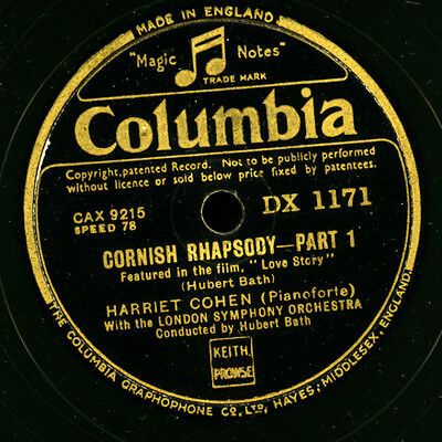 HARRIET COHEN -Piano-  Cornish Rhapsody (Hubert Bath)  1&2    Schellack    G2824