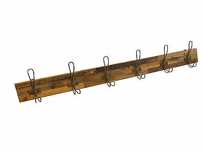 6 Hook Timber Coat Rack with Metal Rust Coloured Hooks