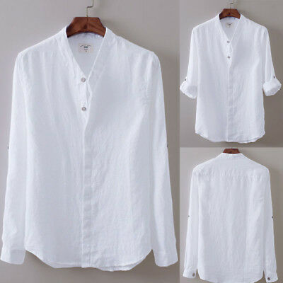 US Men's Full Sleeve Linen Casual Shirts Breathable Cotton Shirt Asian Sizes