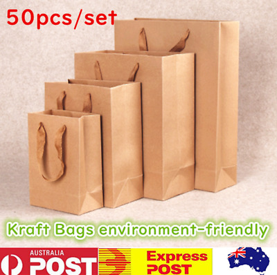 50X Durable Kraft Brown Paper Carry Bags With Handle Gift Bags, Shopping Bag