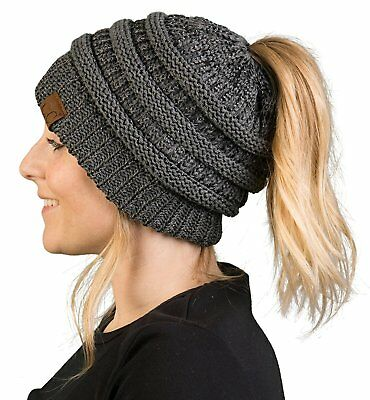 91b85a4695d FunkyJunque Funky Junque s BeanieTail Womens Ponytail Messy Bun Beanie Solid  .
