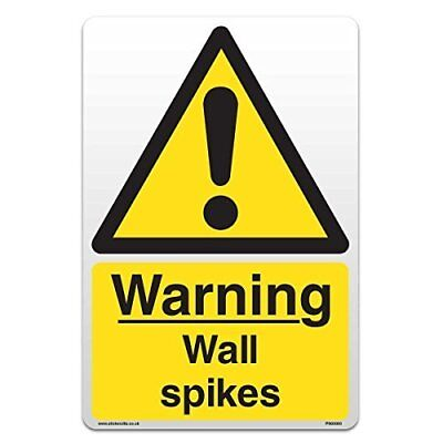 Warning Wall Spikes - Self Adhesive Vinyl Sticker [A4 - 210mm x 297mm]