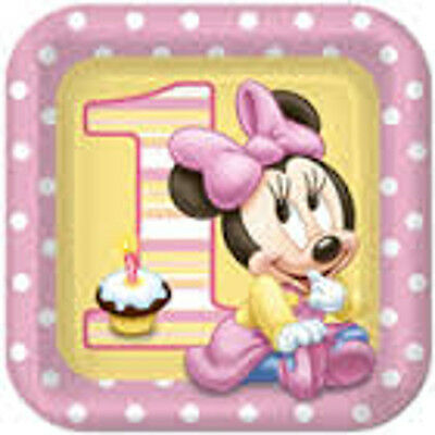 Set Of 12 Personalised Minnie Mouse 1St Birthday 14X 8 Size Cake Bags