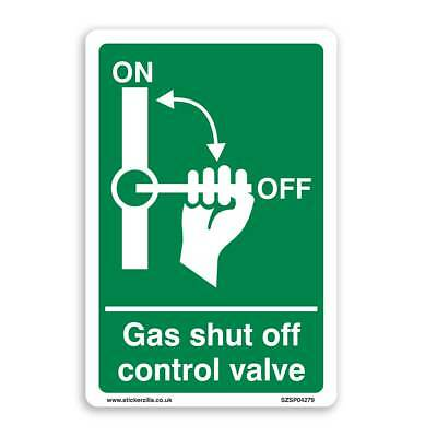 Gas Shut Off Sign - [A4 200mm x 300mm] Self Adhesive Sticker