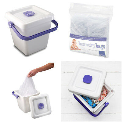 Nappy Bucket Bambino Mio Pail and Lid with or without Laundry Bag Soak Reusable