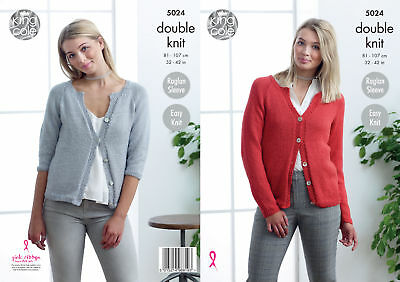Easy Knit Long or 3/4 Sleeve Cardigans Womens DK Knitting Pattern King Cole 5024