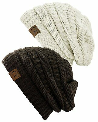 19317e3cce7b8f C.C TRENDY WARM Chunky Soft Stretch Cable Knit Beanie Skully, 2 Pack ...