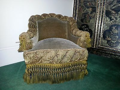 Pair Of Period Gaufrage Armchairs With Original Tasselled Fringes