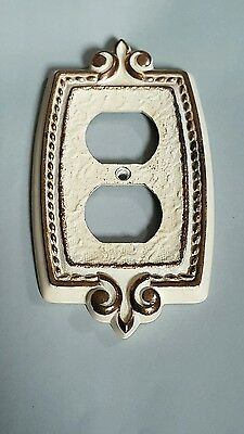 Vintage Ornate Brass Outlet Cover Plate