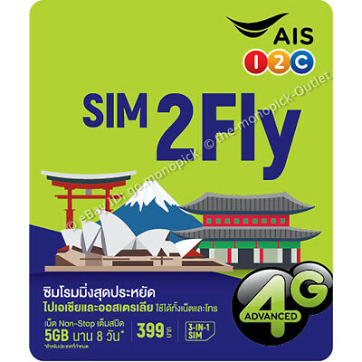 AIS 4GB/8Day Japan Korea Malaysia Singapore China India Roaming Data Prepaid SIM