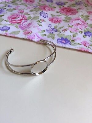 1 pc 20mm Round Bangle Bracelet Blank Tray Cabochon Base bezel rhodium  art. 262