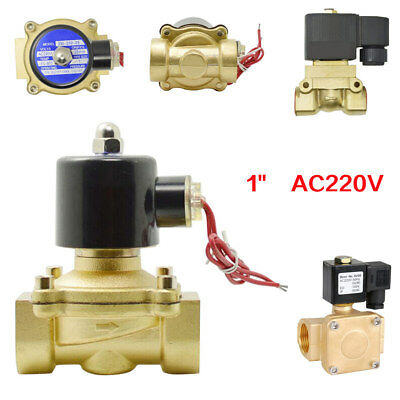 AC 220V 1″ Brass Electric Solenoid Valve Gas Water Fuel Air Solid Coil Gold