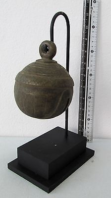 LARGE SIZE Old Karen Hill Tribe Bronze Round Elephant Bell & Stand 790g
