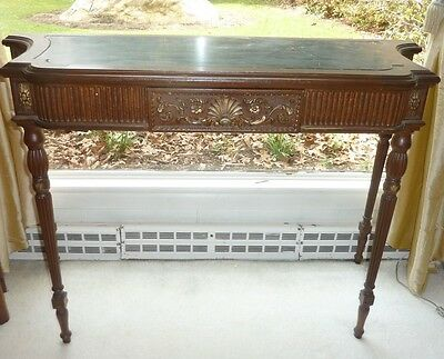 Antique 19th c French desk with Black marble top fluted legs scrolled carvings