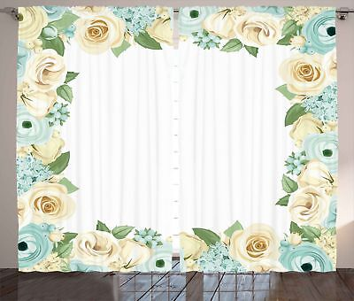 Shabby Chic Curtains Flower Roses Leaves Window Drapes 2 Panel Set 108x108 Inch