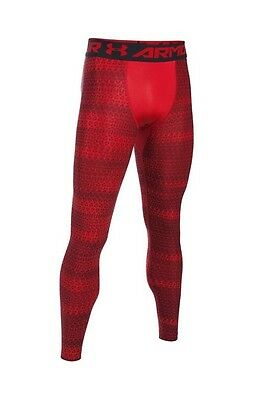 Men UA Under Armour 2017 Heat Gear Compression Base Layer Leggings Red/black