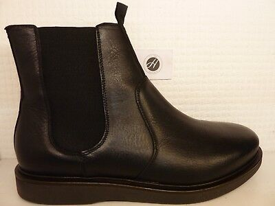 H by Hudson Adler Black Leather Smart Mens Chelsea Ankle Boot Shoe Size