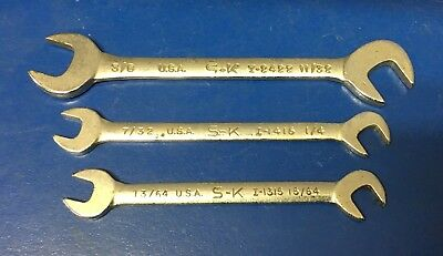 S-K 3pc Open End Wrench Set I1315 I1416 I2422 - Made in USA