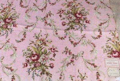 Pink French Antique Home Dec Cotton Printed Floral Frame Fabric c1894-1895