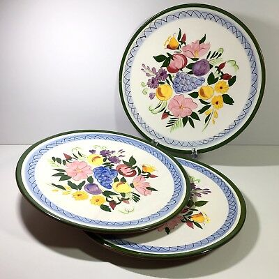 """3 Stangl Art Pottery Fruit and Flowers 10"""" Dinner Plates Signed"""