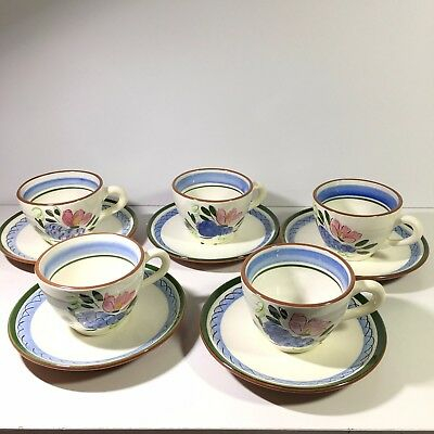 5 Stangl Art Pottery Fruit and Flowers Cups and Saucers Signed