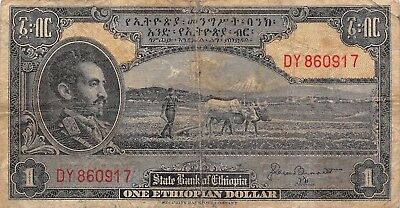 Ethiopia  $1  ND. 1945  P 12  Series DY  Circulated Banknote NY1117