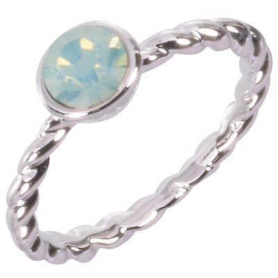 Rhodium Plated Rope Ring with Czech Opal Crystal by Zoetik